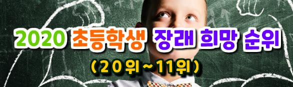 2020 초등학생 장래 희망 순위 (20위~11위)